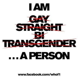 I AM [crossed out] GAY [crossed out] STRAIGHT [crossed out] BI [crossed out] TRANSGENDER [not crossed out] ...A PERSON