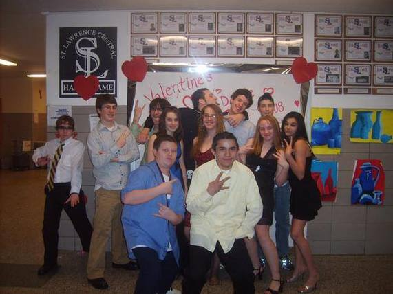 Valentine's Dance 2008, St. Lawrence Central Hall of Fame in the lobby. Back row, left to right: C. Randall Nicholson, Daniel Frohm, Ben Lord, Brian LaBier, Quinn Patraw, Levi Hull. Middle row, left to right: Cassandra Aldous, Amber McLaughlin, Paige Losey, Kayla Peets. Front, left to right: Matthew Beckstead, Joseph Rafter.