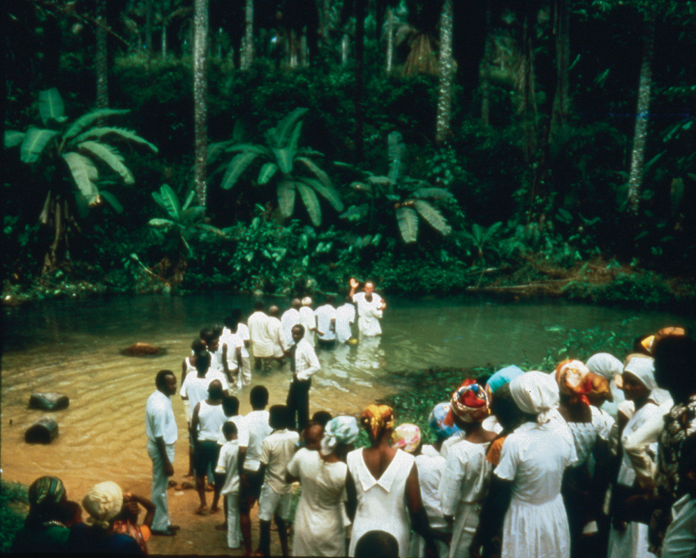 Dozens of LDS converts being baptized at Ikot Eyo, Nigeria, on March 4, 1979