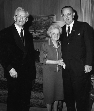 Left to right: David O. McKay, Emma Ray Riggs McKay, and Lyndon B. Johnson in September 1964