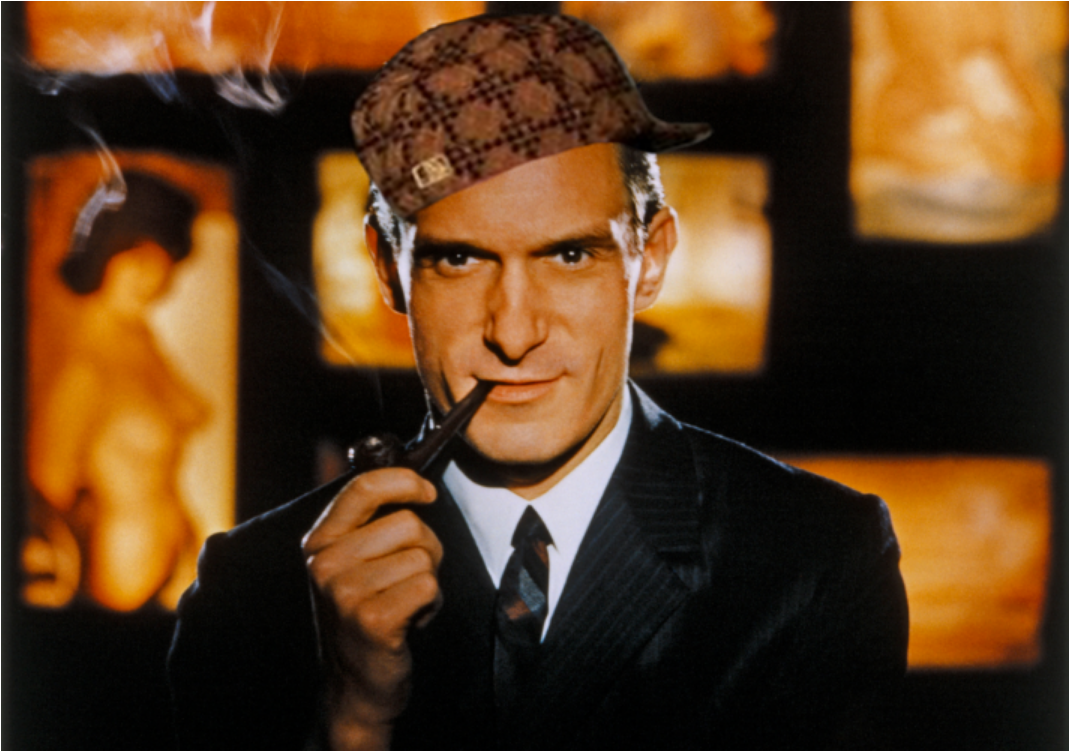 Hugh Hefner as a young man, smoking a pipe, wearing a Scumbag Steve hat