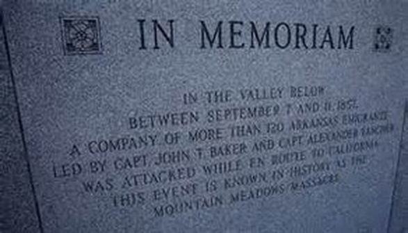 In Memoriam: In the valley below between September 7 and 11, 1857, a company of more than 120 Arkansas emigrants led by Capt. John T. Baker and Capt. Alexander Fancher was attacked while en route to California. This event is known in history as the Mountain Meadows Massacre.