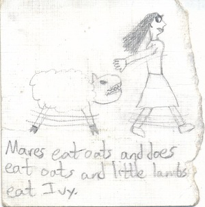 Angry sheep with sharp teeth chasing a frightened girl in a skirt.