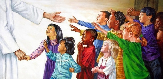 Jesus Christ holding the hand of a little Asian girl and extending His other hand to children of various ethnicities.