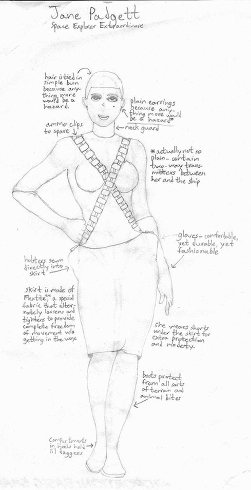 Sketch of Jane Padgett, Space Explorer Extraordinaire. Hair is tied in simple bun because anything more would be a hazard. Ammo clips to spare. Plain earrings because anything more would be a hazard (actually not so plain - contain two-way transmitters between her and the ship). Neck guard. Gloves - comfortable, yet durable, yet fashionable. Holsters sewn directly into skirt. Skirt is made of Flextite, a special fabric that alternately loosens and tightens to provide complete freedom of movement w/o getting in the way. She wears shorts under the skirt for extra protection and modesty. Boots protect from all sorts of terrain and animal bites. Compartments in heels hold li'l daggers.