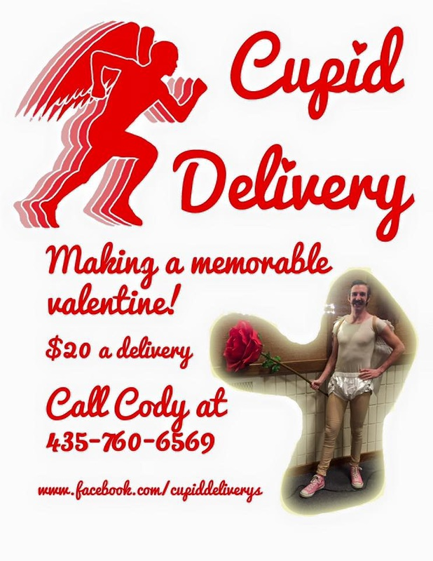 Cupid Delivery: Making a memorable valentine! $20 a delivery. Call Cody at 435-760-6569. www.facebook.com/cupiddeliverys / Picture of Cody Apedale dressed as Cupid with a humongous rose bigger than his head