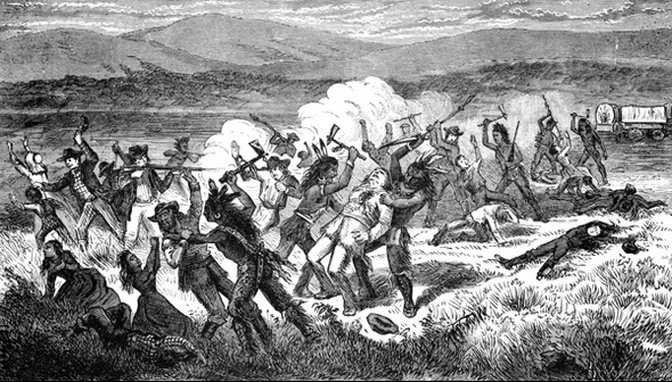 Sketch of the Mountain Meadows Massacre, with Paiute Native Americans attacking white settlers.