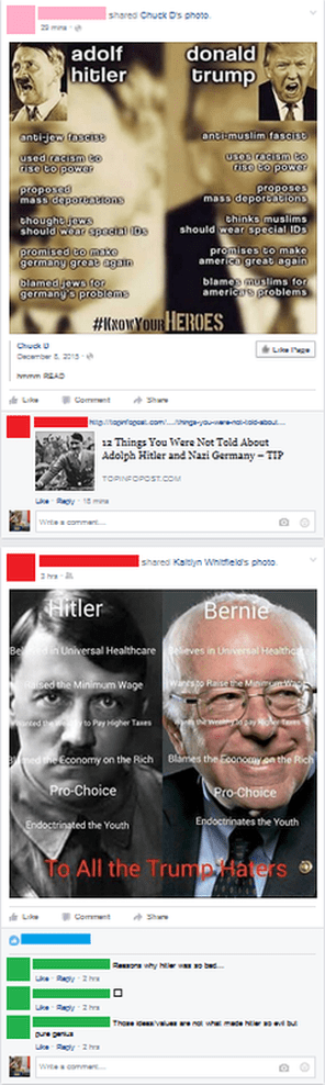 Meme in Facebook feed comparing Adolf Hitler to Donald Trump, immediately followed by one comparing Hitler to Bernie and captioned
