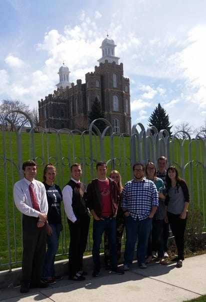 C. Randall Nicholson, Hailey Beutler, Dallin Wiberg, another guy, Tyler Hamblin, Bob Scott, Rachel Hansen, Bryson Stevens, and Christina Stacey in front of the Logan Utah Temple of the Church of Jesus Christ of Latter-day Saints