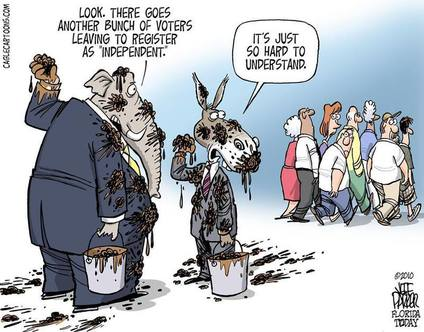 A political cartoon by Jeff Parker, cablecartoons.com. An elephant and a donkey in suits pause from flinging balls of mud at each other. The elephant remarks,