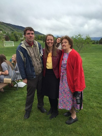C. Randall Nicholson with Sidney Dahl and some old lady in a grassy field