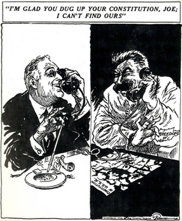 30s-era cartoon of Franklin D. Roosevelt (FDR) on the phone with