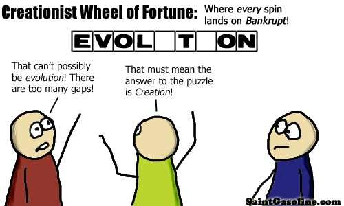 Creationist Wheel of Fortune: Where every spin lands on Bankrupt! Answer: Evol_t_on. Person in red says,
