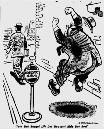 Cartoon by Herblock (?) showing angry fat man in Montgomery, Alabama, hopping up and down and shaking his fists while yelling at departing pedestrian,