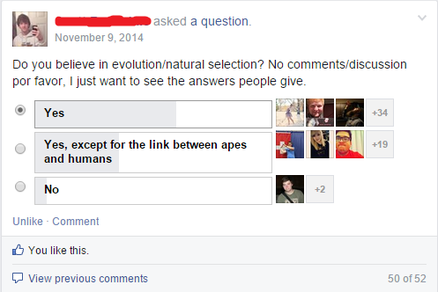 November 9, 2014. Facebook poll: Do you believe in evolution/natural selection? No comments/discussion por favor, I just want to see the answers people give. Yes: 37. Yes, except for the link between apes and humans: 22. No: 3.