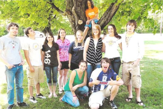 AP English class of 2011. In tree: Martin Fregoe. Top left to right: C. Randall Nicholson, Mark Peets II, Kayla Kesner, Brandi Saumier, Paige Losey, Amber McLaughlin, Anna Brothers, Daniel Frohm. Bottom left to right: Ashley Pike, Derek LaBaff.