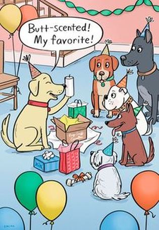 Front of card: Dog surrounded by friends and balloons, sniffing candle and saying,