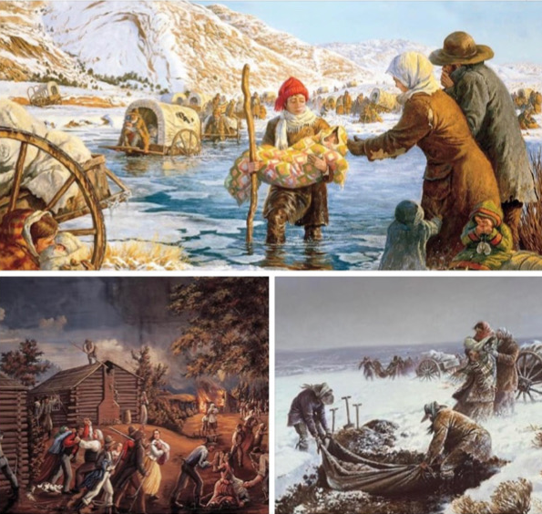 Three paintings: Pioneers pulling handcarts and carrying a child across an icy river, Latter-day Saints being chased out of Missouri by a mob, and pioneers burying their dead in the frozen ground.