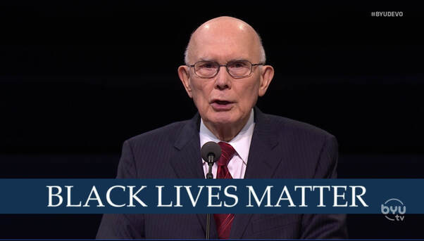 President Dallin H. Oaks on BYUtv with the words