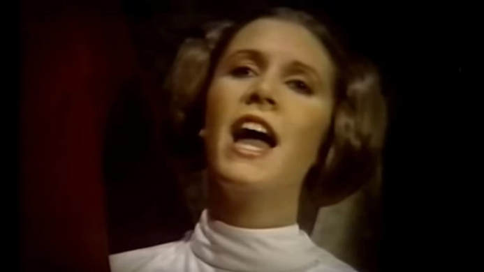 The Star Wars Holiday Special: Princess Leia singing at the Wookiee's Life Day celebration