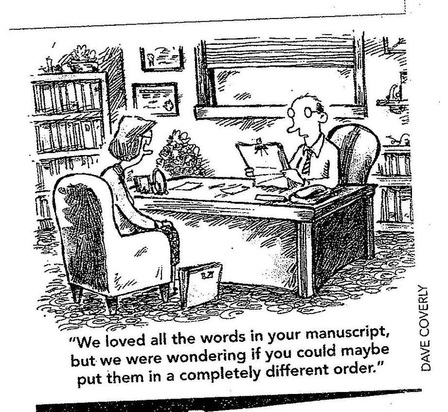 Cartoon by Dave Coverly. Man at desk tells woman,