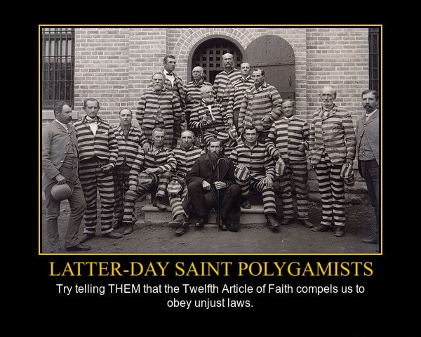 Several men in a prison courtyard, most in prison stripes. Mormon Polygamists: Try telling THEM that the Twelfth Article of Faith compels us to obey unjust laws.